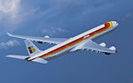Iberia A340-600 in flight, banking right.jpg