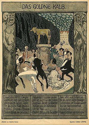 Ignatius Taschner - Illustriertes Gedicht von Heinrich Heine: Das goldene Kalb
