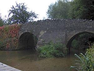 Wellow, Somerset - Medieval packhorse bridge over Wellow Brook