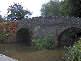 Wellow, Somerset - Medieval packhorse bridge over Wellow Brook