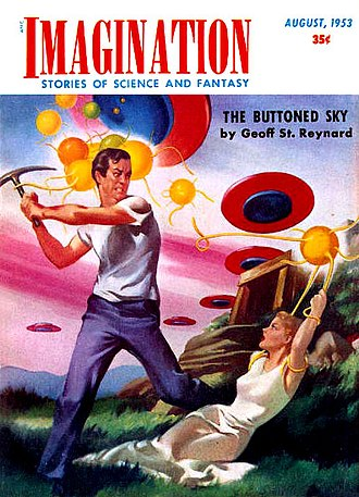 Planetary romance - Cover of Imagination, August 1953.