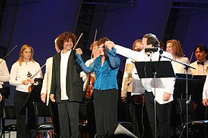Anthony Marinelli - Composer Anthony Marinelli (left)  Actress/comedian Julia Sweeney   Conductor Lucas Richman (right)