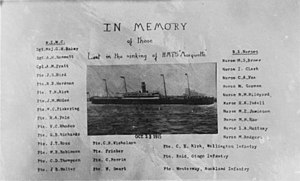 SS Marquette (1897) - Postcard in memory of the 32 New Zealanders lost in the Marquette sinking