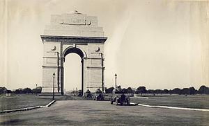 India Gate - Armoured cars passing through India Gate in 1930s