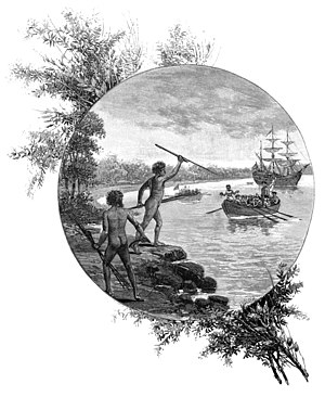 "A 19th century engraving showing Australian ""natives"" opposing the arrival of Captain James Cook in 1770."