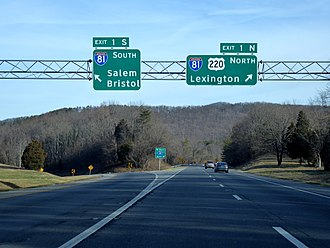 Interstate 581 - Northern terminus at Interstate 81 in Roanoke County.
