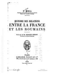 Nicolae Iorga: Histoire des relations entre la France et les Roumains