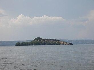 Lake island - Martana island in Lake Bolsena, Italy