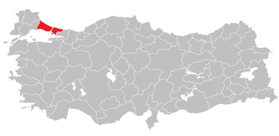 Location of Istanbul Region