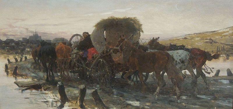 File:Józef Brandt - Żydzi prowadzący konie na targ.jpg