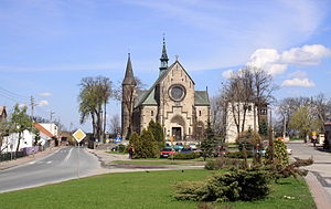 Żarnów - Town centre and church of Saint Nicholas