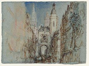 Gros Horloge - Image: JMC Turner, The Gros Horloge at Rouen, Normandy c.1832