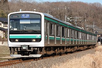 Mito Line - A E501 series EMU between Kasama and Shishido stations in March 2014