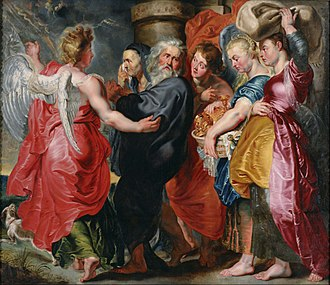 Lot (biblical person) - The Flight of Lot and His Family from Sodom (after Rubens), 1618-1620 by Jacob Jordaens