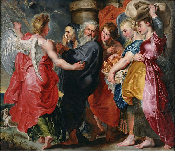 Jordaens' The Flight of Lot and His family from Sodom, 1620 Jacob Jordaens - The Flight of Lot and His Family from Sodom (after Rubens) - Google Art Project.jpg