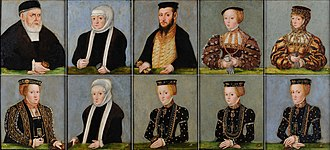 "Czartoryski Museum - Lucas Cranach the Younger (1515-1586) in the collections of Czartoryski Museum in Kraków. ""The Family of Sigismund I of Poland"" in circa 1553-1555. Ten portrait miniatures of the Jagiellonian dynasty (Jagiellon Family) on Bona Sforza's time as queen in Poland when she had married Sigismund I of Poland. The top line seen from the left: Sigismund I the Old of Poland, Bona Sforza, in the middle Sigismund II Augustus of Poland (1520-1572), then Sigismund II's first wife Elizabeth of Austria, Queen of Poland, his second wife Barbara Radziwiłł. In the lower line is Sigismund II's third wife Catherine of Austria (1533-1572), the daughter Isabella Jagiełło (1519-1559), the daughter Catherine Jagiellon (1526-1583), the daughter Sophia Jagiellon (1522-1575) and the daughter Anna Jagiellon of Poland (1523-1596)."