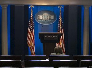 Helen Thomas - Thomas in the James S. Brady Press Briefing Room half an hour before morning gaggle, 2007
