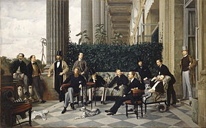Hottinger & Cie - The balcony of the Cercle de la rue Royale in Paris by Tissot. Baron Rodolphe Hottinguer is in the picture, sitting on the sofa, without hat.