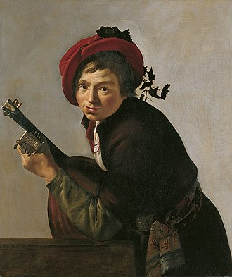 Jan Gerritsz van Bronckhorst - Image: Jan Gerrit van Bronchorst Young man playing a theorbo (Museo Thyssen Bornemisza)