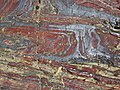 Jaspilite banded iron formation (Soudan Iron-Formation, Neoarchean, ~2.69 Ga; Stuntz Bay Road outcrop, Soudan Underground State Park, Soudan, Minnesota, USA) 14 (19037379818).jpg