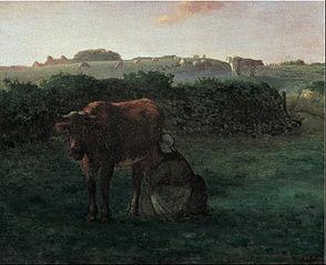 Femme trayant une vache