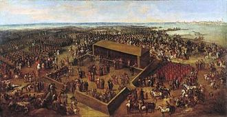 Royal elections in Poland - Election of August II the Strong at Wola, outside Warsaw (1697). Painting by Jean-Pierre Norblin de La Gourdaine.