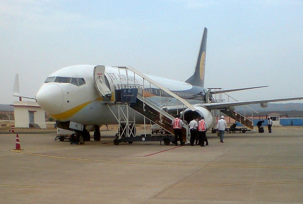 Jet Airways aircraft at Bhuj Airport