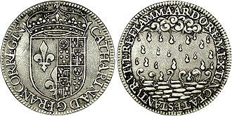 Catherine de' Medici - Silver jeton on Catherine de'Médici