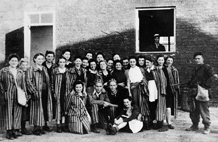 "Jewish prisoners of Gesiowka concentration camp liberated by Polish Home Army soldiers from ""Zoska"" Battalion, 5 August 1944 Jewish prisones of KZGesiowka liberated by Polish Soldiers of Home Army Warsaw1944.jpg"