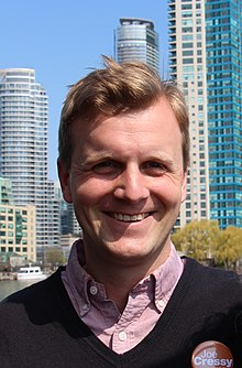 Joe Cressy campaigning in Toronto federal by-election May 2014 (cropped).jpg