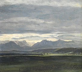 Study of a landscape with powder blue sky over mountains