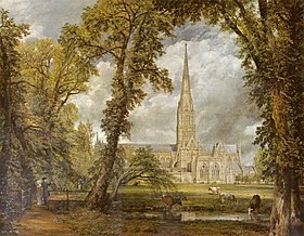 Salisbury Cathedral by John Constable, ca. 1825. As a gesture of appreciation for John Fisher, the Bishop of Salisbury, who commissioned this painting, Constable included the Bishop and his wife in the canvas. Their figures can be seen at the bottom left of the painting, behind the fence and under the shade of the trees.