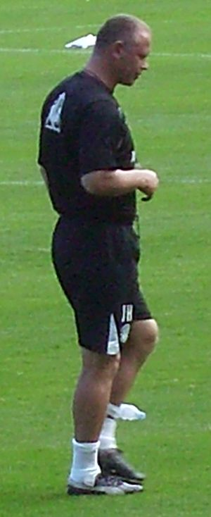 John Hughes (footballer, born 1964) - Hughes at an open training session staged at Easter Road, 9 August 2009.
