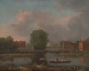 A River Landscape, possibly a View from the West End of Rochester Bridge