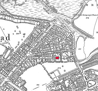 Keats House - Keats Grove, then known as John Street on part of the 1866 Ordnance Survey map for London with Wentworth Place (Keats House) shown in red; the field marked as 276 is now Heath Hurst Road housing and the pond 277 is filled in.