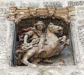 Theobald of Provins - Equestrian statue of St. Theobald by Jean de Joigny (Church of Saint-Thibault de Joigny).
