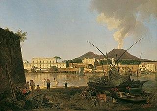 Der Hafen Granatello bei Portici mit dem Vesuv im Hintergrund