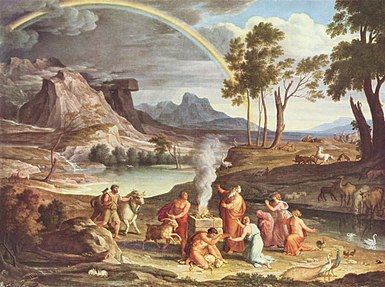 Noah's Thanksoffering (c.1803) by Joseph Anton Koch. Noah builds an altar to the Lord after being delivered from the Flood; God sends the rainbow as a sign of his covenant (Genesis 8-9).