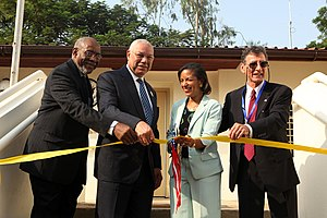 Embassy of the United States, Juba - Johnnie Carson, Assistant Secretary of State for the Bureau of African Affairs; former U.S. Secretary of State Colin Powell; Susan E. Rice, U.S. Permanent Representative to the United Nations; and Ambassador R. Barrie Walkley inaugurating the new U.S. Embassy in Juba, South Sudan on Independence Day, July 9, 2011.