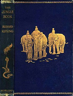 Couverture de l'édition originale (MacMillan) du The Jungle Book de 1894, illustrée par John Lockwood Kipling, le père de Rudyard.