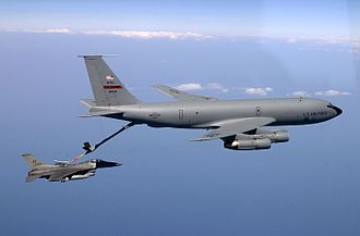 622d Expeditionary Air Refueling Squadron - KC-135E of the 940th Air Refueling Wing assigned to the 622d Expeditionary Air Refueling Squadron refuels a 555th Fighter Squadron F-16C over the Adriatic