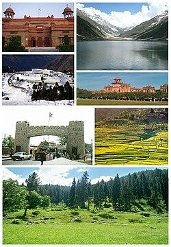Theo chiều kim đồng hồ từ bên trái: Bảo tàng Peshawar, Khu nghỉ dưỡng Malam Jabba Ski, Khyber, Thung lũng Swat, Phong cảnh Battagram, Học viện Islamia, Peshawar, Hồ Saiful Muluk, Naran