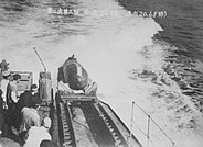 Kaiten Type 1 launch test from port of Japanese cruiser Kitakami