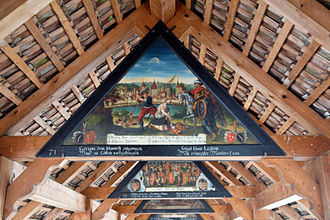 Kapellbrücke - One of the restored interior paintings; this one depicts a local slaying.