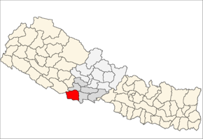 Kapilvastu District i Lumbini Zone (grå) i Western Development Region (grå + lysegrå)