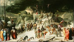 Karel van Mander - Landscape with snow and the Crucifixion, 1599, Private Collection