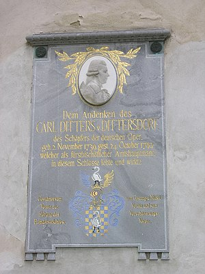 Carl Ditters von Dittersdorf - The plaque for Karl Ditters von Dittersdorf in Jeseník