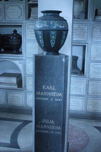 Karl Mannheim - Monument to Karl Mannheim in Golder's Green Columbarium, part of Golder's Green Crematorium