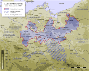 Neumark - The Margraviate of Brandenburg c. 1320, showing the Neumark as the portion reaching out to the east. Cross-hatched are territories also acquired by the House of Ascania outside of Brandenburg.