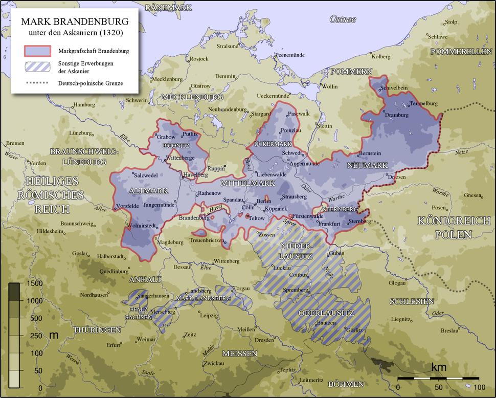 Karte Mark Brandenburg 1320